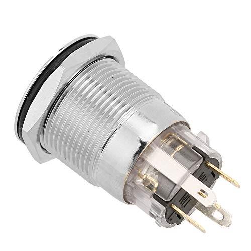 Interruptor de botón duradero, BEM-19-11D hecho de cobre 12VDC 19mm (rojo)