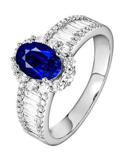 Aimsie Mujer Unisex 18 K oro amarillo 18 quilates (750) talla ovalada azul Sapphire