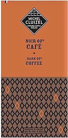 Michel Cluizel Chocolate Oscuro & Café Cacao 60% Mantequilla de cacao Pura Vainilla Bourbon Sin Soja y Aromas - 1 x 70 Gramos