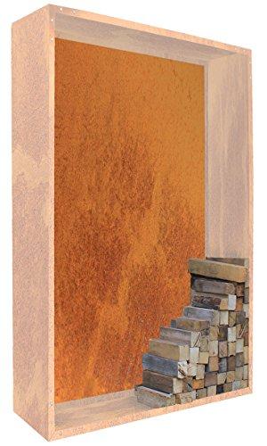 Palatino Exclusive Line Woodpecker Paroi pour étagère à bois de cheminée en acier Corten 100 x 180 cm