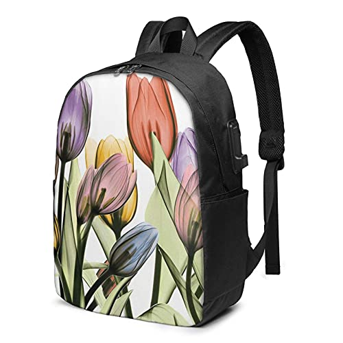 XCNGG Laptop Backpack,17 Inch Travel Lightweight Backpack with USB Charging Port Tulip Scape
