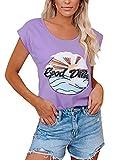 YOINS - Camiseta para mujer, camiseta sexy para verano, cuello redondo sin mangas, con estrellas Lago lila. S