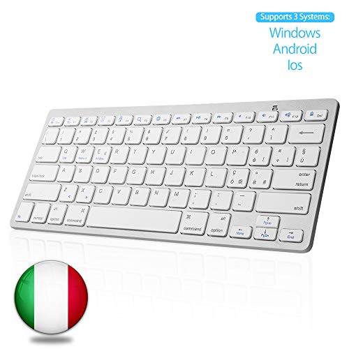 SENGBIRCH Bluetooth Italiana Tastiera, Tastiera Wireless Portatile Light per iPad, Samsung, Huawei, iOS, Android, Windows e Qualsiasi Dispositivo Abilitato Bluetooth, Tastiera Bluetooth, Bianca