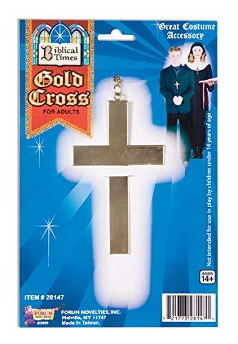 Forum Novelties 28147 Unisex-Adults Gold Cross-Metal, Golden, Standard, Multicolor