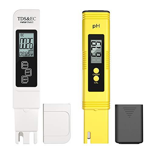 TDS & pH metro, 0.01ph ad alta precisione penna tipo pH Meter +/- 2{5ea799a377fc8137e5ae77ce1597ec8a9b9a5122b1b2427b0ecade81c7bb09c3} precisione di lettura PH/TDS/EC/temperatura 4 in 1 tester acqua per interni, acqua potabile, idroponica, piscine, acquario nuoto