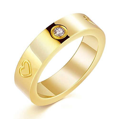 PDWZNBA Anillo de la amistad de amor chapado en oro de 18 quilates con circonita cúbica de acero inoxidable, anillo de promesa de boda, regalo de cumpleaños para mujeres adolescentes y niñas dorado