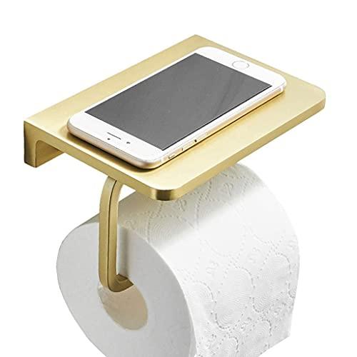 Tenedor de papel higiénico, soporte de teléfono móvil de aluminio Tenedor de papel higiénico para el inodoro Montado en la pared Cobertura de la toalla de papel sólido Cepillado