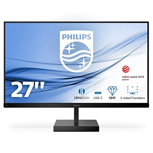 "Monitor Philips 276C8 - Monitor de 27"" QHD (2560 x 1440, 75 Hz, 4 ms, FreeSync, MegaInfinityDCR, HDR 10, Flickerfree, Lowblue, PIP/PBP, HDMI, USB-C) Negro"
