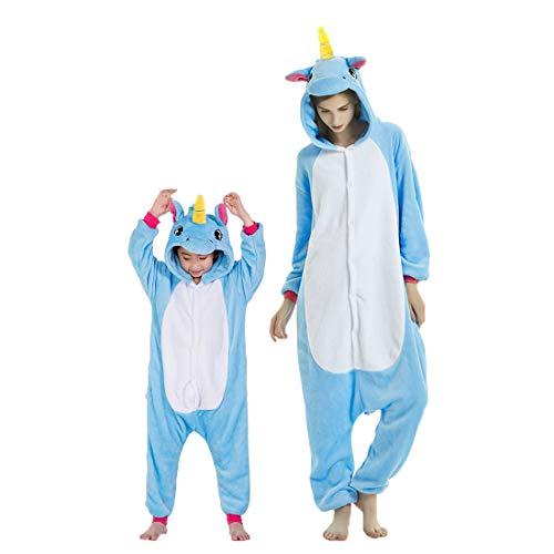 Debaijia Kinder-Pyjama aus Flanell/ Jumpsuit für Jungen und Mädchen, Warme Nachtwäsche, 3 bis 11Jahre Gr. 145(Hauteur recommandée: 159-168cm), Blau – Pegasus