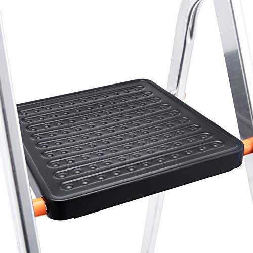 AmazonBasics Folding Step Ladder - 5-Step, Aluminum with Wide Pedal, Silver and Black