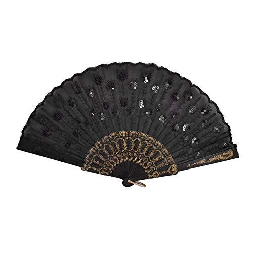 YONGYONGMY Abanico Plegable Barco de plástico Negro Bordado Detalle Floral Arrugas Fan de la Mano