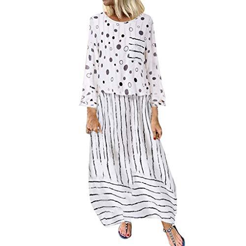 Damen Langarm Vintage Kleider Maxikleid Langes Elegantes Kleid Türkischer Stil Sommerkleid Strandkleider Boho Lose Maxi Kimono Abendkleid Kaftan Tunika Lange Sommerkleider (5XL/EU:50, Weiß)