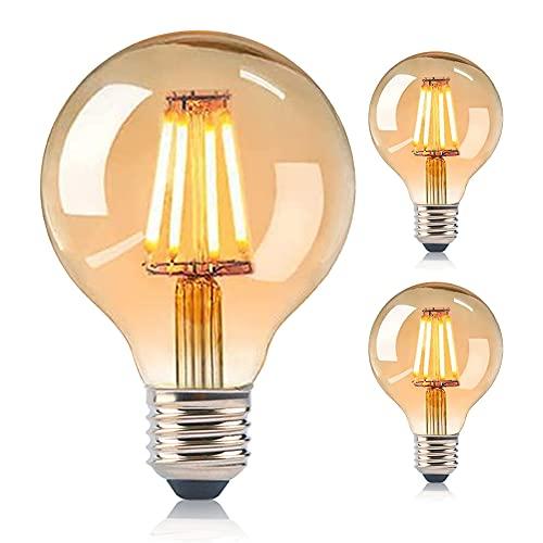 ASANMU Edison Vintage Glühbirne, 2 Pcs G80 Globe Gluehbirne Vintage LED E27 4W Warmweiss Antike Filament LED Glühlampe Dekorativ Leuchtmittel Lampe Ideal für Nostalgie Retro Beleuchtung Haus Café Bar