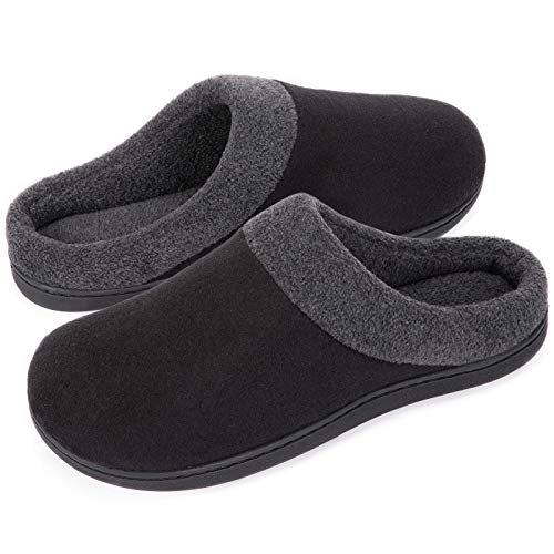 HomeIdeas Men's Woolen Fabric Memory Foam Anti-Slip House Slippers, Autumn Winter Breathable Indoor Shoes (Black, 7-8 mens)