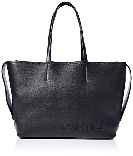 Calvin Klein Damen Attached Shopper Umhängetasche, Schwarz (Black), 28x47x5cm