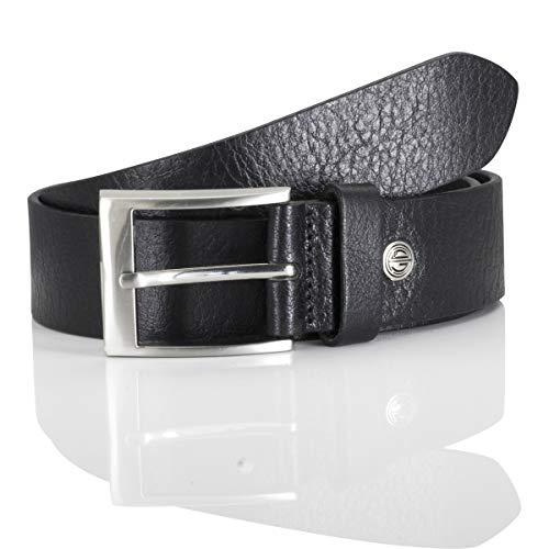Lindenmann men's leather belt/men's belt, full grain leather, black, Größe/Size:110, Farbe/Color:noir