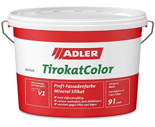 ADLER AVIVA Tirokat-Color - 1 Liter - B 01/4 Creme - Wetterbeständige, mineralische Fassadenfarbe auf Wasserbasis. Hochwertige Silikatfarbe für außen