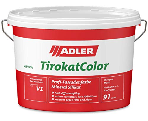 ADLER AVIVA Tirokat-Color - 1 Liter - B06/5 Tiramisu - Wetterbeständige, mineralische Fassadenfarbe auf Wasserbasis. Hochwertige Silikatfarbe für außen