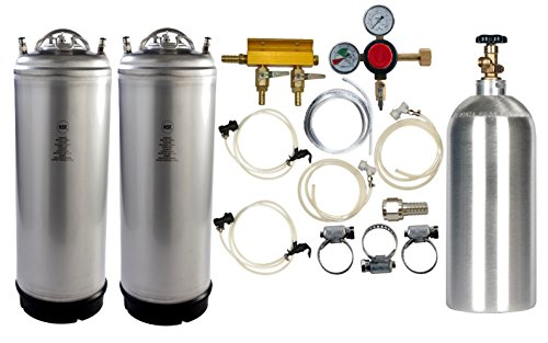Dual 5 Gallon Keg Home Brew Kegerator Kit With CO2 Cylinder and All Accessories