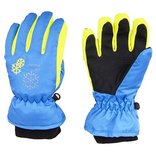 TRIWONDER Thermal Fleece Skihandschuhe Snowboard Handschuhe wasserdichte warme Winterhandschuhe für Kinder (blau, S (6-8 Jahre))
