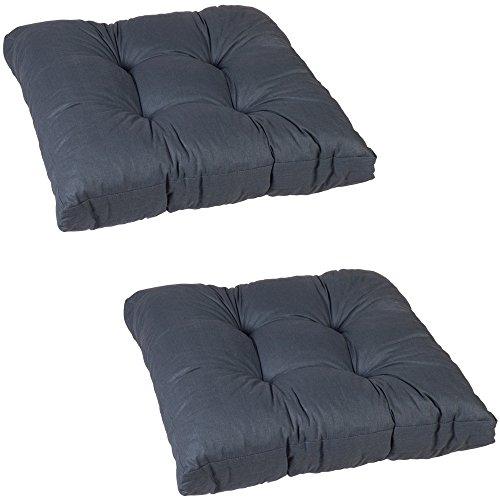 Beo 2x Sitzkissen 60x60 cm wasserabweisend für Lounge Gartenmöbel | Made in EU Lounge-Kissen Grau | Stuhlkissen mit hoher Lichtechtigkeit - UV-Ausbleichschutz | Öko-Tex geprüft schadstofffrei