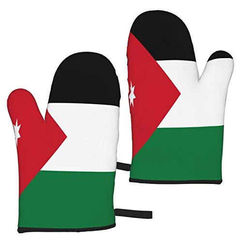 MayBlosom Ofenhandschuhe mit Jordan-Flagge, hitzebeständig, Mikrowellen-Handschuhe, Küche, rutschfest, zum Kochen, Backen, Grillen, Mikrowelle und Grillen (1 Paar)