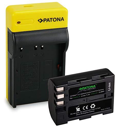 PATONA Premium Bateria EN-EL3E con Estrecho Cargador Compatible con Nikon D5000, D3000, D700, D200, D100