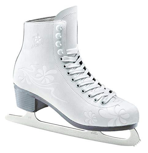 L.A. Sports Schlittschuh Damen und Mädchen Kunsteislaufschuh weiß l Eislaufschuhe gefüttert l Jugend + Erwachsene Größe 42/43