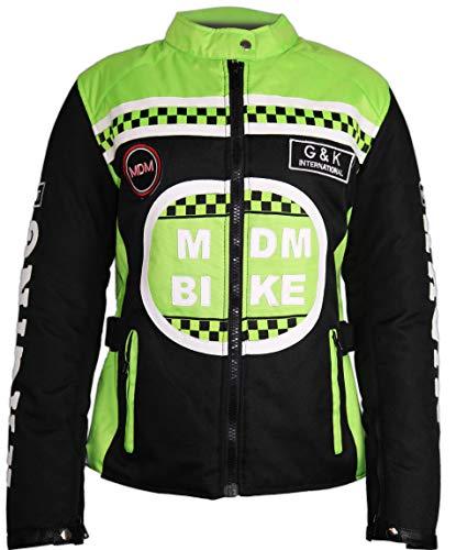 MDM Damen Motorrad Jacke mit Protektoren in Neon Grün (3XL)