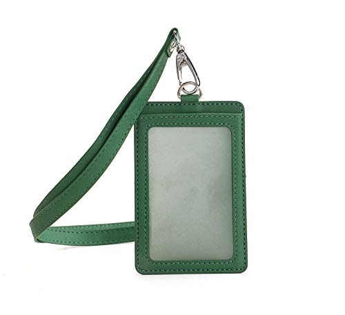 Melsbrinna Waterproof Vertical ID Card Holder Detachable Neck Lanyard,Leather ID Badge Holders for Women/Men, Name Tag Holder for People in Workplace,Waterproof Vertical Ski Pass Holder(Green)