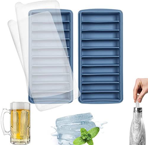 LessMo Stick Bandeja del Cubo de Hielo, de Silicona, con Tapa, Ideal para los Deportes y Las Botellas de Agua, 10 cavidades (Juego de 2, Azul)