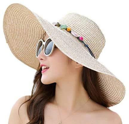 Skyeye Playa Dulce al Aire Libre para la Playa Sombrero para el Sol Gran cráneo Plano a lo Largo de sólida Visera Plegable Sombrero de Paja Visera de Verano