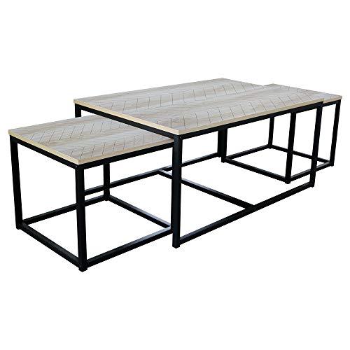 HOMEXPERTS, schommelstoel NELE, salontafel, plaat melamine sonoma eiken in visgraat-look, frame metaal zwart gepoedercoat, bijzettafel, B 90, H 42, D 60 cm