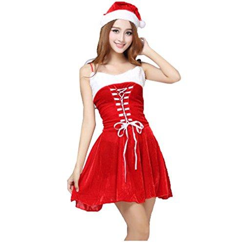 Kangrunmy Festa di Natale Vestito Cosplay, Signore Sexy Santa Costume Donne Signora Natale Festa di Fantasia Due Parti Abito Cosplay Suit