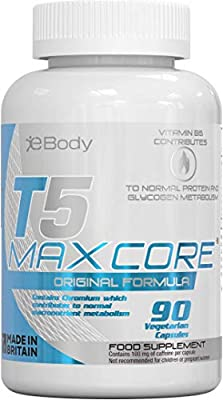 T5 Maxcore Original Fat Burner for Men & Women which Contains L-Tyrosine, Chromium, Vitamin B6 & Botanical extracts Made in The UK (90 Vegetarian Capsules)