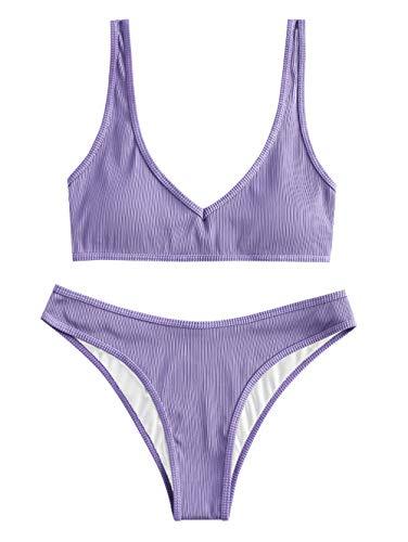ZAFUL Damen Gepolsterte Bikini Set, Texturiert V-Ausschnitt High Cut Bikini Badeanzug Sommer (Violett,M)