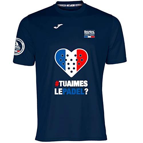 Barcelona Padel Tour | Camiseta Técnica de Manga Corta para Hombre Joma | En Tejido Micro Mesh Transpirable con Corazón Love Pádel y Bandera Francia | Azul Marino M