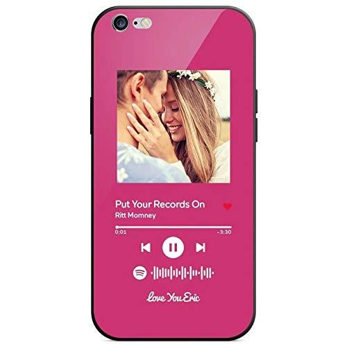 VEELU Carcasa Compatible con iPhone 6 6s Plus Movil Personalizada con Fotografia Codigo Escaneable de Spotify, Funda Telefono Personalizada Cancion Spotify, Protecdoras a Prueba de Golpes