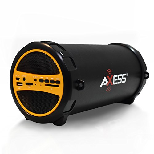 """AXESS SPBT1031 Portable Bluetooth Indoor/Outdoor 2.1 Hi-Fi Cylinder Loud Speaker with Built-In 3"""" Sub and SD Card, USB, AUX Inputs in Yellow"""