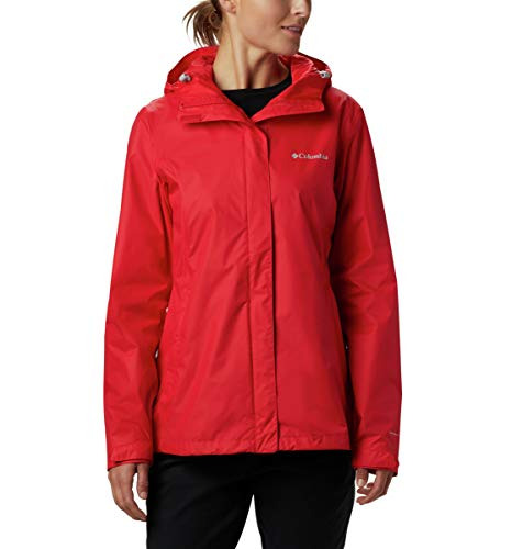 Columbia Women's Arcadia II Waterproof Breathable Jacket with Packable Hood, red Lily, X-Large