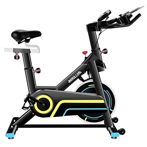 JACKCOMCOM Heimtrainer, Hometrainer Indoor Cycling Bike Mit Herzfrequenzmonitor & LCD Monitor, Bequeme Sitzkissen, Schwere Schwungrad Upgrade Version, Multi-Grips