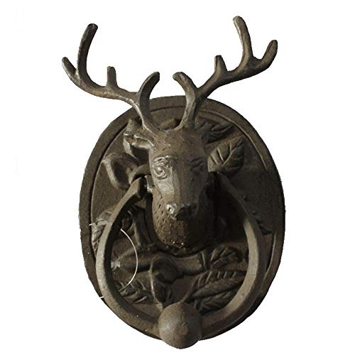 Zjcpow-HO Metallgriff Antike Türgriff Nordic Rural Jahrgang Schmiedeeisen Deer Türklopfer Garten-Tür Ornament Tor Ring Zuggriff (Color : Wrought Iron, Size : 10.6×5.6×16.2cm)