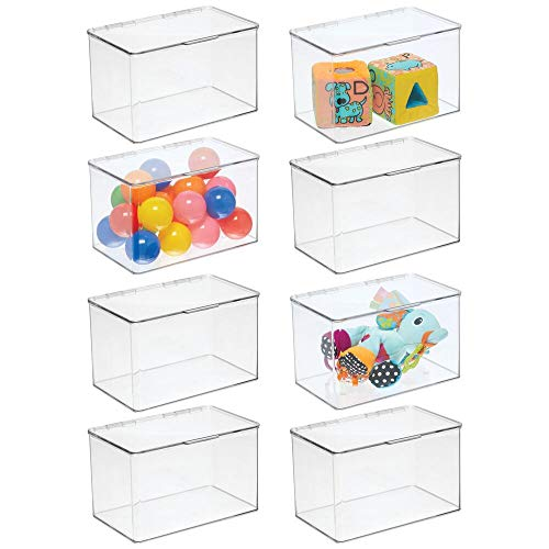 mDesign Kids Small Plastic Stacking Toy Storage Organizer Box Container with Hinged Lid for Storing Action Figures, Crayons, Building Blocks, Puzzles, Wood Construction Sets, Cars, 8 Pack - Clear