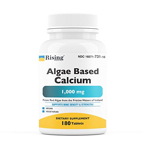 Rising Health - Algae/Plant Based Calcium Supplement with Magnesium, Vitamin D3, Vitamin K2, Boron and More - Increase Bone Strength and Density - All Natural Ingredients - 180 Vegetarian Tablets