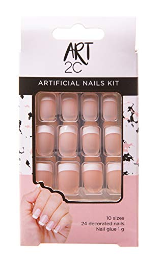 Art 2C - Kit de uñas postizas francesas con pegamento fáciles de poner y quitar (001)