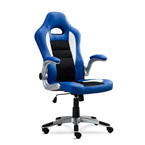BELLEZE Gaming Office Chair Racing Bucket High Back Ergonomic Computer w/Flip Armrest, Blue blue chair gaming