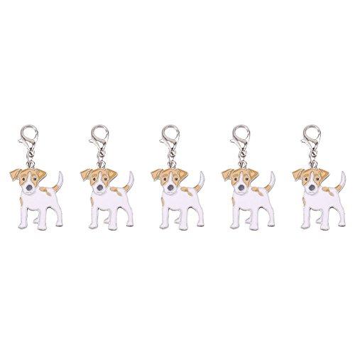 Huisdier sleutelhanger, 5 Stks/partij Charmante Mooie Hond Puppy Kraag Tag Metalen Hanger Ketting voor portemonnee Rits Zakken Accessoires Jack Russell