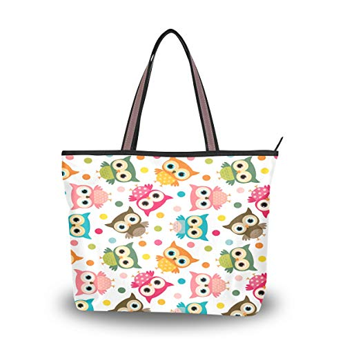 BKEOY große Damen-Handtasche, Schultertasche, L-Laptop-Tasche, bunt, gepunktet, Eulen-Druck, Einkaufstasche, Organizer, Gepäck, Mehrfarbig - multi - Größe: Medium
