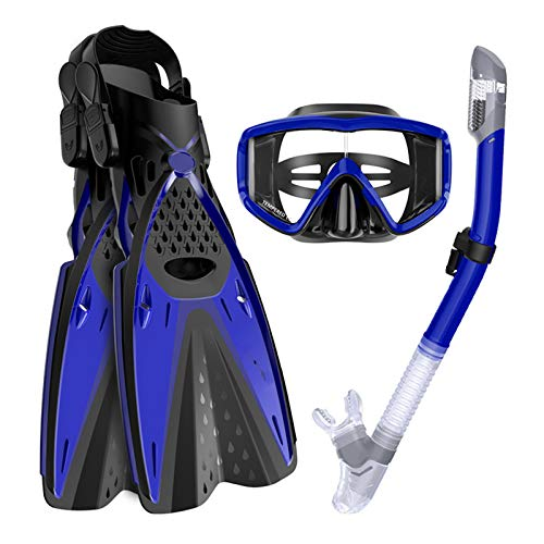 Ertong Scuba Diving Gear Swimming Combo Set Waterproof and Anti-Fog Snorkel Mask+Adjustable Freediving Swimming Fins/Flippers+ Breathing Tube for Adults (Blue, S/M(Adult US Size 4.5-8.5))
