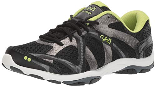 Ryka Women's Influence Cross Training Shoe, Black/Sharp Green/Forge Grey/Metallic, 10 M US